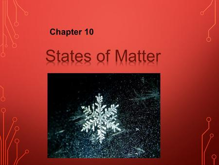 Chapter 10. The kinetic-molecular theory is based on the idea that particles of matter are always in motion. used to explain the properties of solids,