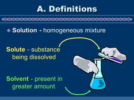 A. Definitions  Solution -  Solution - homogeneous mixture Solvent Solvent - present in greater amount Solute Solute - substance being dissolved.