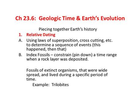 Ch 23.6: Geologic Time & Earth's Evolution