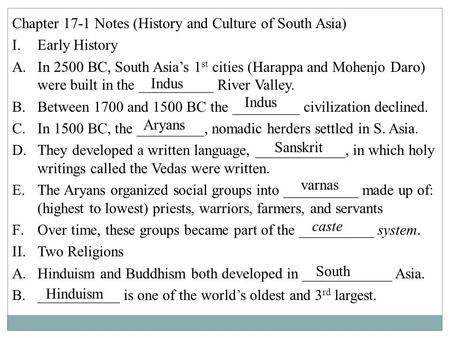 Chapter 17-1 Notes (History and Culture of South Asia)