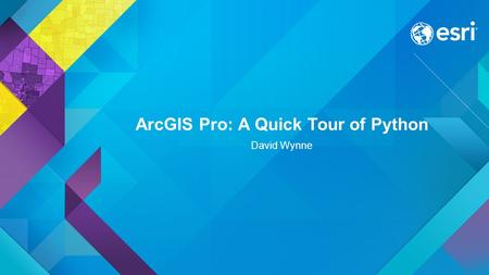 ArcGIS Pro: A Quick Tour of Python David Wynne.
