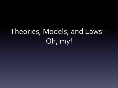 Theories, Models, and Laws – Oh, my!. What is a scientific theory? a well-supported explanation about the natural world.