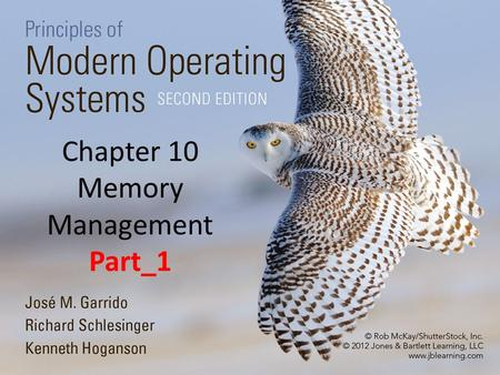 Chapter 10 Memory Management Part_1. 2 Overview Basic Concepts The major tasks of the memory manger are the allocation and deallocation of main memory.