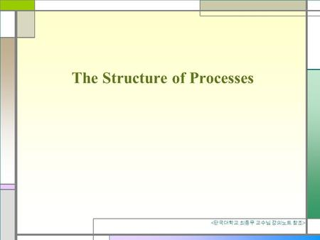 The Structure of Processes. What is a Process? an instance of running program Program vs process(task) Program : just a passive collection of instructions.