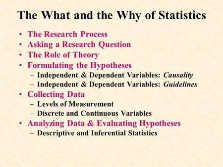 The What and the Why of Statistics The Research Process Asking a Research Question The Role of Theory Formulating the Hypotheses –Independent & Dependent.