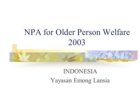 NPA for Older Person Welfare 2003 INDONESIA Yayasan Emong Lansia.