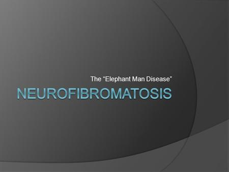 "The ""Elephant Man Disease"". What Causes Neurofibromatosis?  Neurofibromatosis is caused by tumors that grow along nerves in the body.  Tumors that grow."