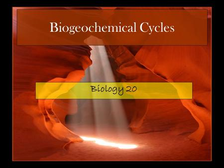 Biogeochemical Cycles Biology 20. Chemicals Cycle Inorganic nutrients are cycles through natural ecosystems repeatedly. Biogeochemical cycles are the.