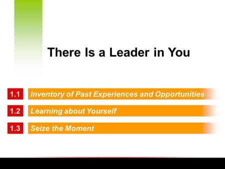 Inventory of Past Experiences and Opportunities1.1 1.2Learning about Yourself 1.3Seize the Moment There Is a Leader in You.