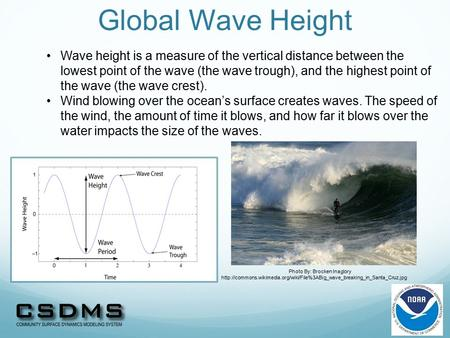 Global Wave Height Wave height is a measure of the vertical distance between the lowest point of the wave (the wave trough), and the highest point of the.