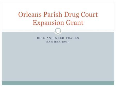 RISK AND NEED TRACKS SAMHSA 2013 Orleans Parish Drug Court Expansion Grant.