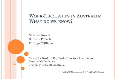 W ORK -L IFE ISSUES IN A USTRALIA : W HAT DO WE KNOW ? Natalie Skinner Barbara Pocock Philippa Williams Centre for Work + Life, Hawke Research Institute.