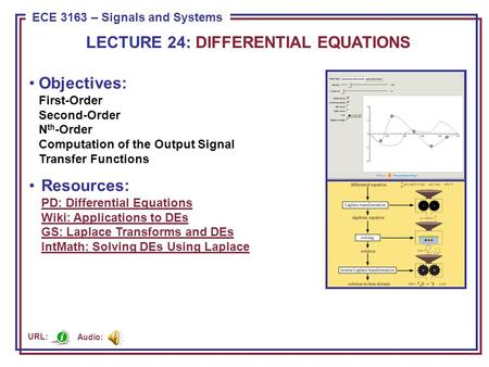 ECE 8443 – Pattern Recognition ECE 3163 – Signals and Systems Objectives: First-Order Second-Order N th -Order Computation of the Output Signal Transfer.