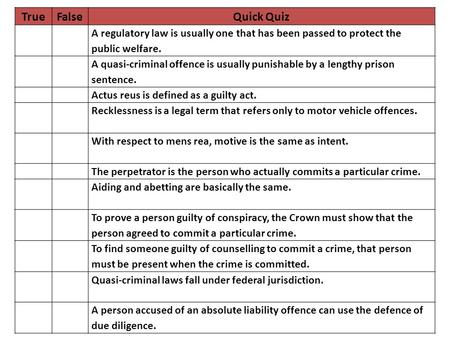 TrueFalseQuick Quiz A regulatory law is usually one that has been passed to protect the public welfare. A quasi-criminal offence is usually punishable.