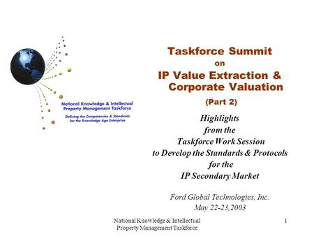 National Knowledge & Intellectual Property Management Taskforce 1 Taskforce Summit on IP Value Extraction & Corporate Valuation (Part 2) Highlights from.