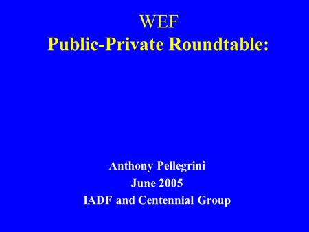 WEF Public-Private Roundtable: Anthony Pellegrini June 2005 IADF and Centennial Group.