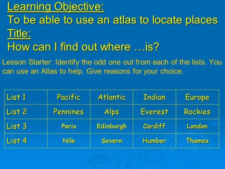 Learning Objective: To be able to use an atlas to locate places Title: How can I find out where …is? Lesson Starter: Identify the odd one out from each.