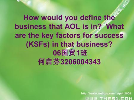 How would you define the business that AOL is in? What are the key factors for success (KSFs) in that business? 06 国贸 1 班 何启芬 3206004343.