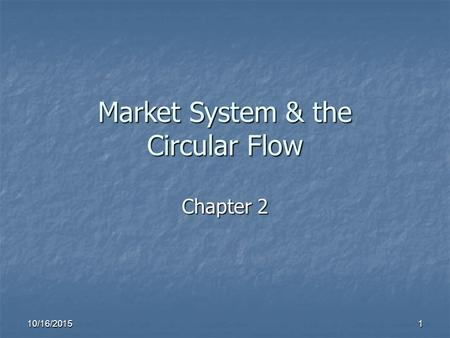 10/16/2015 1 Market System & the Circular Flow Chapter 2.