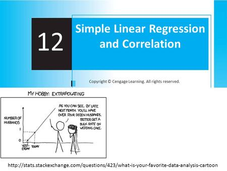 Copyright © Cengage Learning. All rights reserved. 12 Simple Linear Regression and Correlation