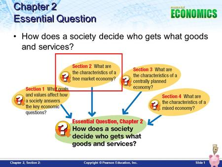 Slide 1Copyright © Pearson Education, Inc.Chapter 2, Section 2: Chapter 2 Essential Question How does a society decide who gets what goods and services?