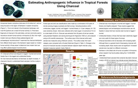 Estimating Anthropogenic Influence in Tropical Forests Using Charcoal Introduction Jessica Del Greco Advisors: Crystal H. McMichael, Earth System Research.