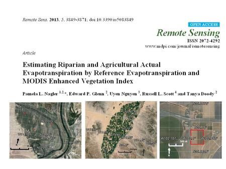 Abstract: Dryland river basins frequently support both irrigated agriculture and riparian vegetation and remote sensing methods are needed to monitor.