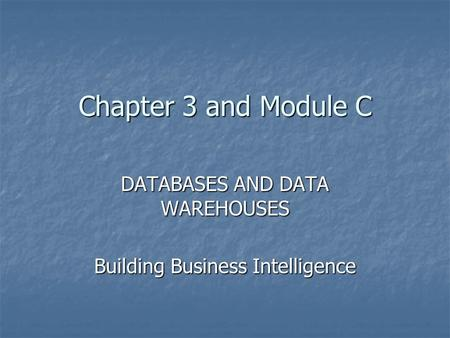 Chapter 3 and Module C DATABASES AND DATA WAREHOUSES Building Business Intelligence.
