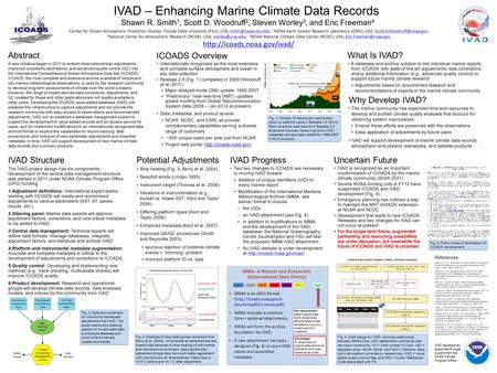 IVAD development supported through a grant from the NOAA Climate Program Office. IVAD – Enhancing Marine Climate Data Records Shawn R. Smith 1, Scott D.