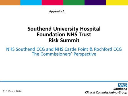 Southend University Hospital Foundation NHS Trust Risk Summit NHS Southend CCG and NHS Castle Point & Rochford CCG The Commissioners' Perspective 31 st.
