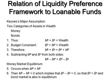 Relation of Liquidity Preference Framework to Loanable Funds Keynes's Major Assumption Two Categories of Assets in Wealth MoneyBonds 1.Thus:M s + B s =