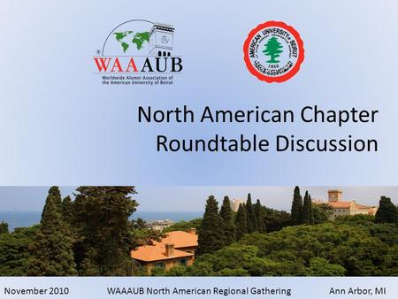 November 2010WAAAUB North American Regional GatheringAnn Arbor, MI North American Chapter Roundtable Discussion.
