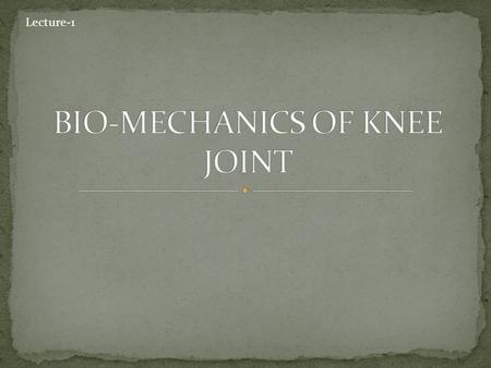 Lecture-1. At the end of this lecture the student should be able to: Describe basic characteristics of the knee joint Identify structural adaptation.