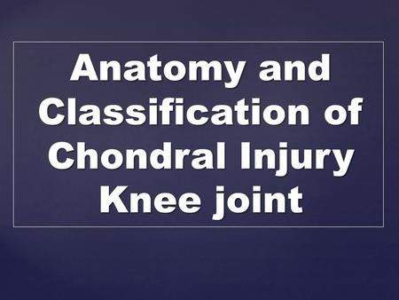 Anatomy and Classification of Chondral Injury Knee joint.