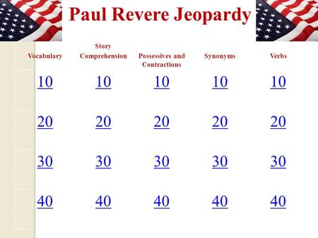 Paul Revere Jeopardy Vocabulary Story ComprehensionPossessives and Contractions SynonymsVerbs 10 20 30 40.