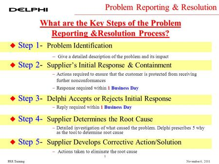 1 November 6, 2001PRR Training u Step 1 u Step 1- Problem Identification – Give a detailed description of the problem and its impact Step 2 u Step 2- Supplier's.