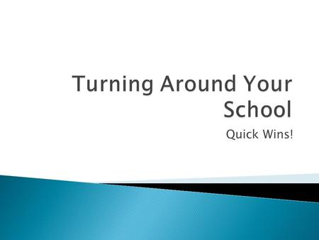 Quick Wins!.  Failed to make AYP 6 consecutive years~ resulting in Tier 4 status.  Lead Instructional Administrator placed over school in November 2007.