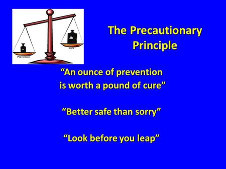"The Precautionary Principle ""An ounce of prevention is worth a pound of cure"" is worth a pound of cure"" ""Better safe than sorry"" ""Look before you leap"""