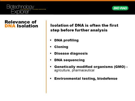 Relevance of DNA Isolation