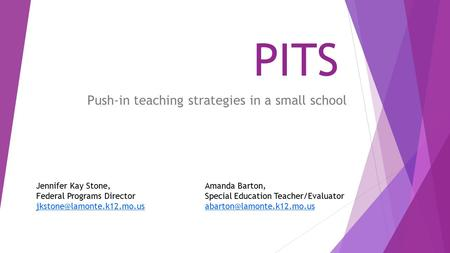 Push-in teaching strategies in a small school