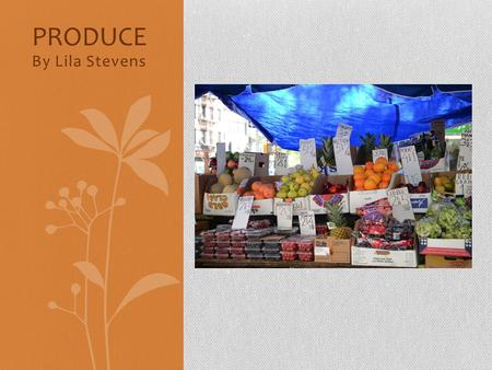 By Lila Stevens PRODUCE. Produce is fruits and vegetables. Produce comes in many different forms, and can be found in many different places.