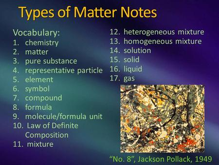Types of Matter Notes Vocabulary: 1.chemistry 2.matter 3.pure substance 4.representative particle 5.element 6.symbol 7.compound 8.formula 9.molecule/formula.