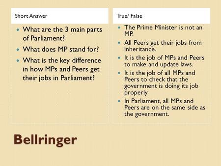 Short AnswerTrue/ False What are the 3 main parts of Parliament? What does MP stand for? What is the key difference in how MPs and Peers get their jobs.