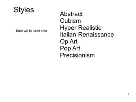 Abstract Cubism Hyper Realistic Italian Renaissance Op Art Pop Art Precisionism 1 Each will be used once Styles.
