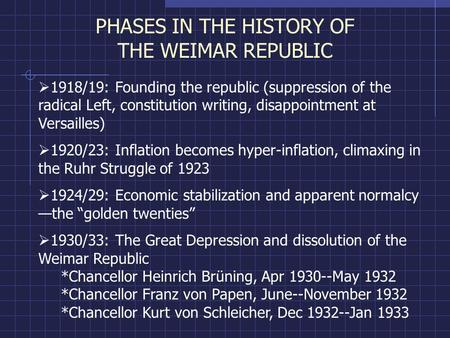 failure of weimar republic Consider the impact of the failure of the weimar republic and examine the extent to which hitler utilised this to advantage the nazi party this is.