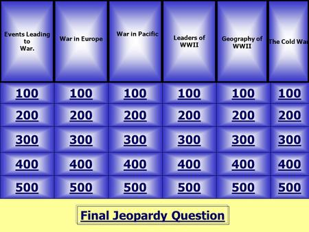 Final Jeopardy Question Events Leading to War. War in Europe 100 The Cold War Leaders of WWII Geography of WWII 500 400 300 200 100 200 300 400 500 400.