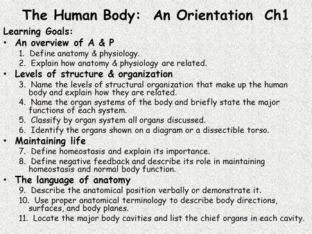 The Human Body: An Orientation Ch1 Learning Goals: An overview of A & P 1. Define anatomy & physiology. 2. Explain how anatomy & physiology are related.