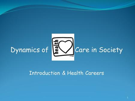 Dynamics of Care in Society Introduction & Health Careers 1.
