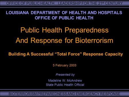 OFFICE OF PUBLIC HEALTH…LEADERSHIP FOR THE 21 st CENTURY BIOTERRORISM PREPAREDNESS AND EMERGENCY RESPONSE LOUISIANA DEPARTMENT OF HEALTH AND HOSPITALS.