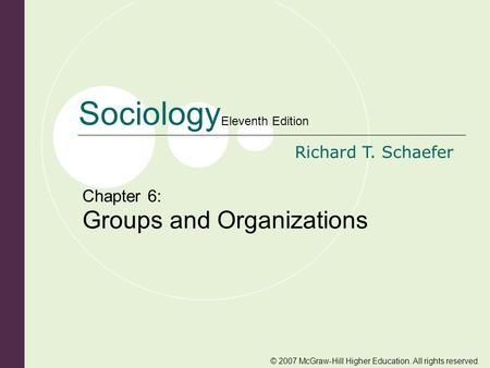 © 2007 McGraw-Hill Higher Education. All rights reserved. Sociology Eleventh Edition Richard T. Schaefer Chapter 6: Groups and Organizations.